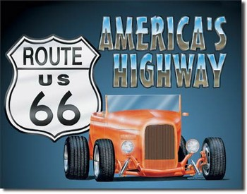 ROUTE 66 - roadster Metal Sign