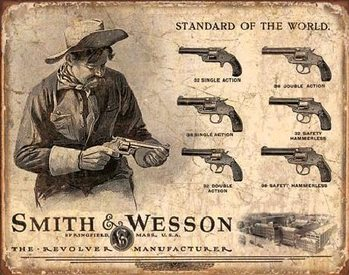 S&W - SMITH & WESSON - Revolver Manufacturer Metal Sign
