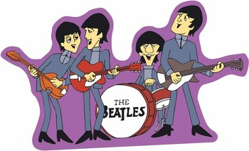 SHAPED BEATLES CARTOON Metal Sign