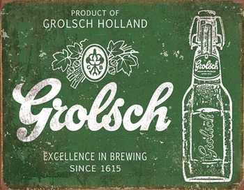 Metalllilaatta Grolsch Beer - Excellence