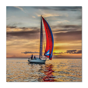 Sailing boat at sea Mounted Art Print