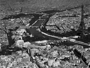 Paris - Aerial view of selected part, 1956 Reproduction