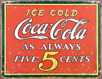 Placa de metal COKE VINTAGE 5 CENTS