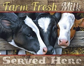 Placa de metal Farm Fresh Milk