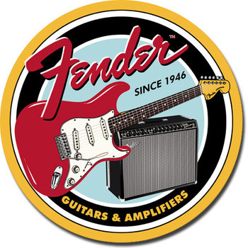 Placa de metal FENDER - Round G&A