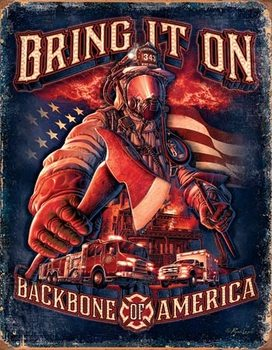 Placa de metal Fire Fighters - Bring It