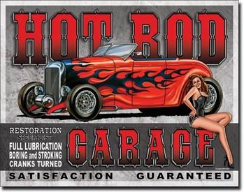 Placa de metal LEGENDS - hot rod garage