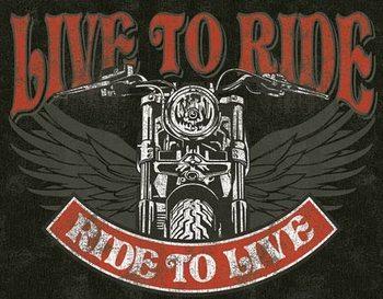 Placa de metal Live to Ride - Bike