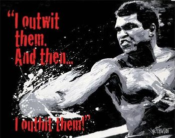 Placa de metal MUHAMMAD ALI - Outwit then Outhit
