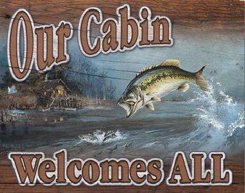 Placa de metal Our Cabin Welcomes All