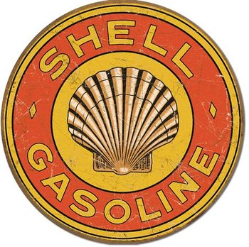 Placa de metal SHELL GASOLINE - 1920's Round