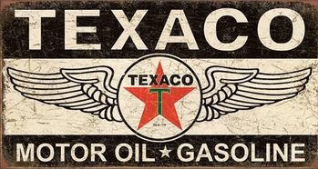 Placa de metal Texaco Winged Logo