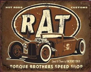 Placa de metal TORQUE - Rat Rod