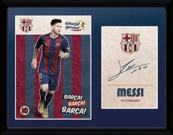 Barcelona - Messi Vintage 16/17 Poster encadré en verre