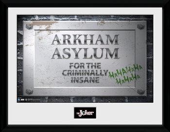 Batman Comic - Arkham Asylum Sign Poster encadré en verre