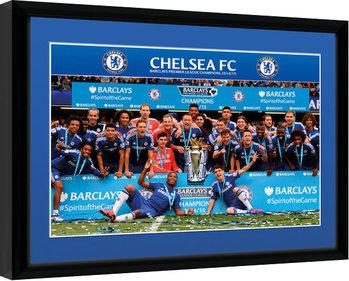 Chelsea - Premier League Winners 14/15 Poster encadré en verre