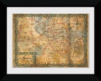 Le Hobbit - Map Poster encadré en verre