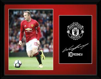 Manchester United - Rooney 16/17 Poster encadré en verre