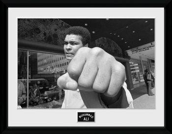 Muhammad Ali - Fist Poster encadré en verre