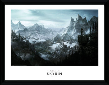 Skyrim - Vista Poster encadré en verre