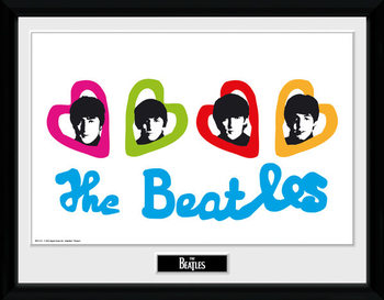 The Beatles - Love Hearts Poster encadré en verre