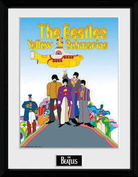 The Beatles - Yellow Submarine Poster encadré en verre