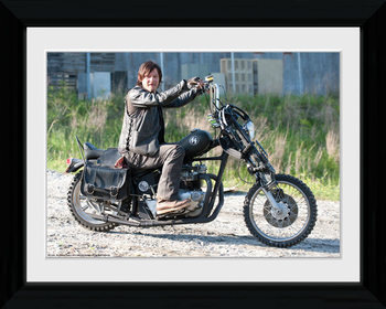 THE WALKING DEAD - Daryl Bike Poster encadré en verre