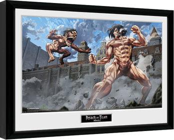 Attack On Titan - Titan Fight Poster emoldurado de vidro
