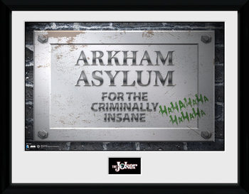 Batman Comic - Arkham Asylum Sign Poster emoldurado de vidro