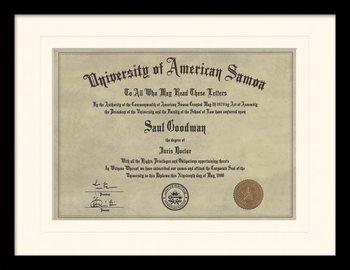 Better Call Saul - Diploma Poster emoldurado de vidro