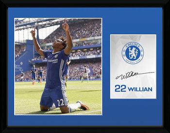 Chelsea - Willian 16/17 Poster emoldurado de vidro