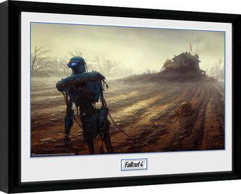Fallout 4 - Farming Robot Poster emoldurado de vidro