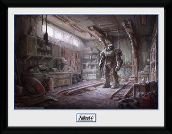 Fallout 4 - Red Rocket Interior Poster emoldurado de vidro