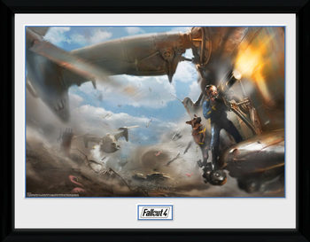 Fallout 4 - Virtibird Door Gunner Poster emoldurado de vidro