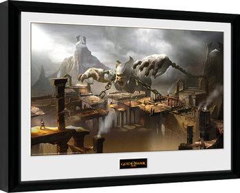 God of War - Concept Art Canyon Poster emoldurado de vidro