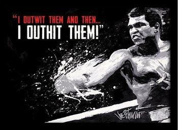 Muhammad Ali - outwit outhit Poster emoldurado de vidro
