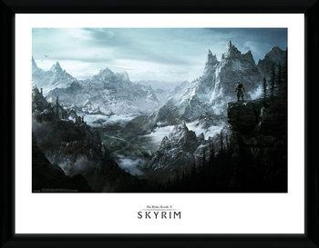 Skyrim - Vista Poster emoldurado de vidro
