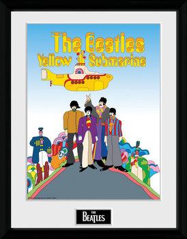 The Beatles - Yellow Submarine Poster emoldurado de vidro