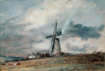 A Windmill on the Downs near Brighton Art Print