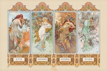 Pôster Alfons Mucha – four seasons
