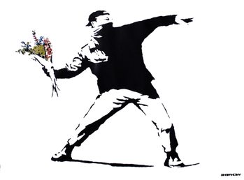 Banksy street art - graffiti throwing flowers Poster, Art Print