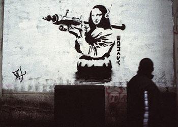 Banksy Street Art - Mona Lisa Art Attack Poster, Art Print
