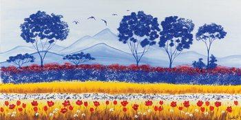 Blue Meadow of Poppies Art Print