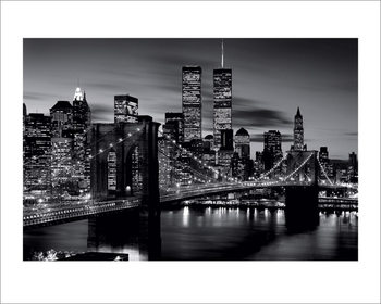 Brooklyn Bridge at Night - B&W Art Print