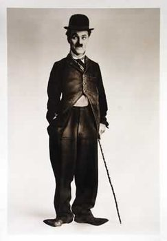 Charlie Chaplin - b&w Walking Stick Poster, Art Print