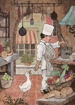 Chef With Goose Art Print