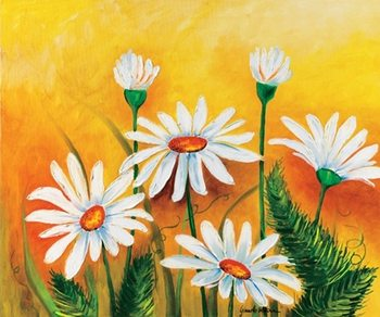 Daisies and Ferns Art Print