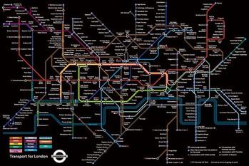 London Underground Map - black Poster, Art Print