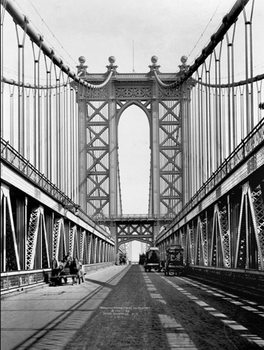 Manhattan bridge Tower and roadway, 1911 Art Print