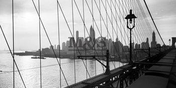 Manhattan see through cables of b.bridge 1937 Art Print